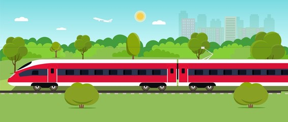 Train on railway with forest and city. Vector flat style illustration
