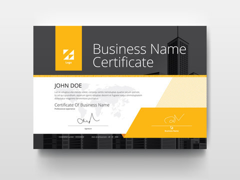 Modern Business Certificate with Yellow and Black.