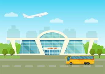 Airport building exterior with bus, airplane and city. Vector flat style illustration