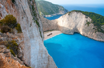 Poster Tropical beach Shipwreck panorama cliff in Zakynthos Greece