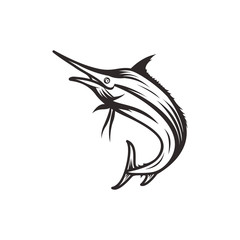 Marlin fish icon, logo concept - vector illustration template