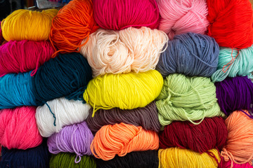 Colorful of Yarn Wool in a Fabric Shop