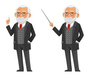 cartoon illustration of a senior professor or scientist in elegant black suit