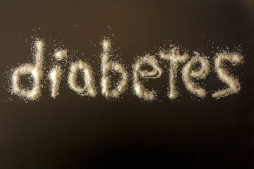 diabetes spelled out in white refined sugar grains concept