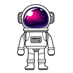Vector astronaut character with the galaxy reflected on helmet glass