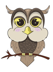 cute owl sitting on branch, cartoon vector illustration