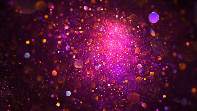 Abstract chaotic glittering pink, purple and orange bubbles. Fantasy fractal design. Digital art. 3D rendering.