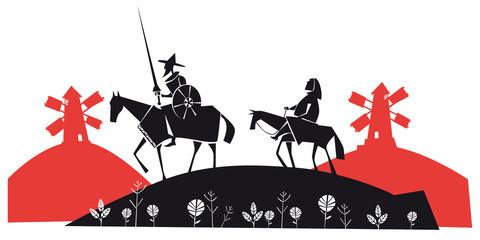 Don Quixote and Sancho Panza vector illustration