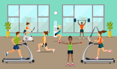 Empty gym with exercise equipment. People pick up a dumbbell and do cardio in the gym. Vector flat style illustration