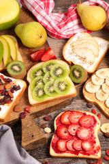 assorted breakfast fruit toast