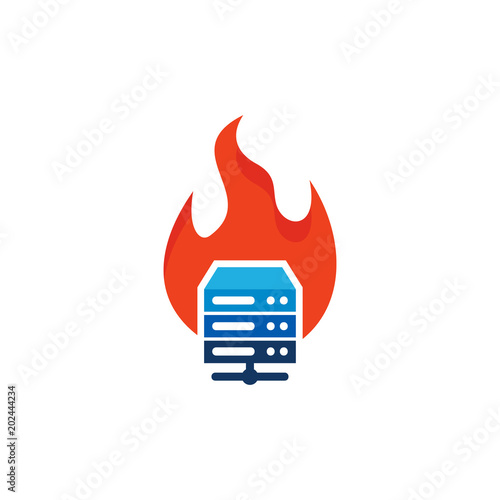 flame server logo icon design stock image and royalty free vector