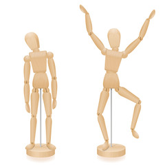 Unhappy and happy, sad and joyful wooden lay figures body language in comparison - two mannequins with typical body posture - three-dimensional isolated vector illustration on white background.