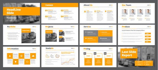 Template of white vector slides for presentations and reports with orange rectangles and squares.