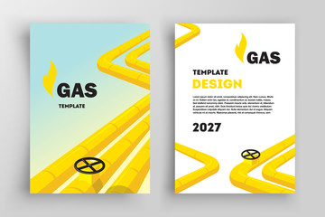 Yellow Valve Flyer Brochure Design. Front and back template design cover. Business flyer size A4 template.