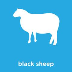 black sheep icon isolated on blue background