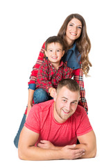 Family Portrait, Mother Father Child Boy, Pyramid of Parents and Kid Son, People over White Background, looking at camera
