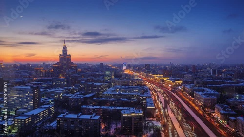Fotobehang Panorama of Moscow, Russia. City skyline changing from sunset to night. 4K UHD Timelapse.