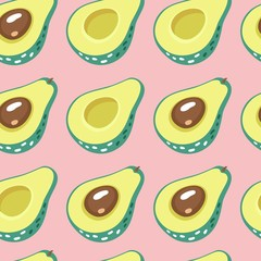Avocado hand drawn seamless pattern for print, fabric and healthy products packaging.