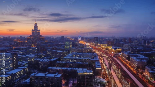 Fotobehang Panorama of Moscow, Russia. Zoom in on city skyline changing from sunset to night. 4K UHD Timelapse.