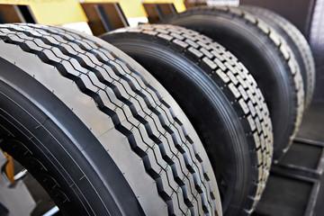 Tread pattern on wheel tire truck in store