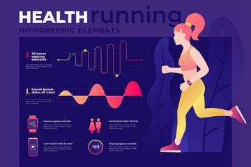 Infographics on benefits of healthy lifestyle. Athletic girl on run with tracker. Fitness and workout on outdoors. Cardio exercises. Template for web site, mobile application. Vector illustration.