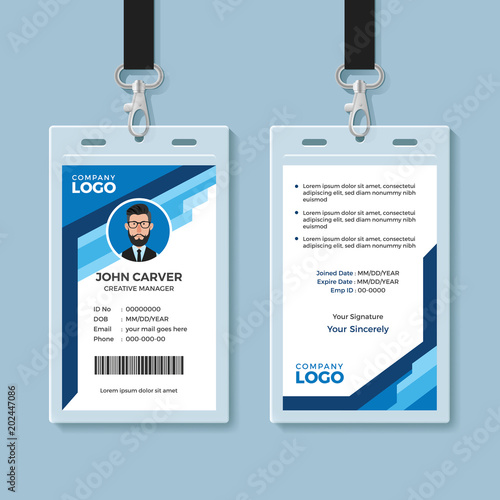 Blue Graphic Employee ID Card Template\
