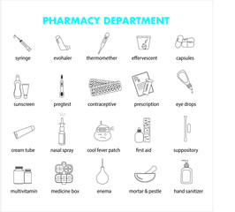 Pharmacy instrument and products in drug store: thin vector icon set, black and white kit