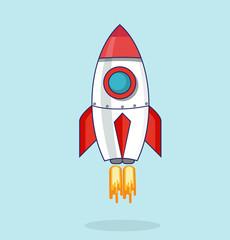 Illustration with a rocket flat design