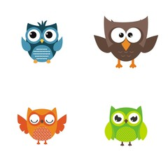Set collection nice owl vector cartoon