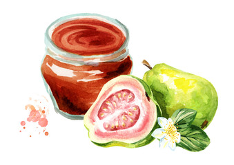 Organic fruit jam. Glass jar of guava marmalade and fresh fruit isolated on white background. Watercolor hand drawn  illustration