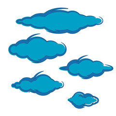 collection of blue clouds illustration vector element icon logo symbol design vector set