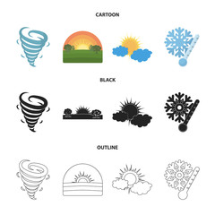 Tornado, sunrise, cloudiness, snow and frost. The weather set collection icons in cartoon,black,outline style vector symbol stock illustration web.