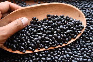 close up of black beans for background