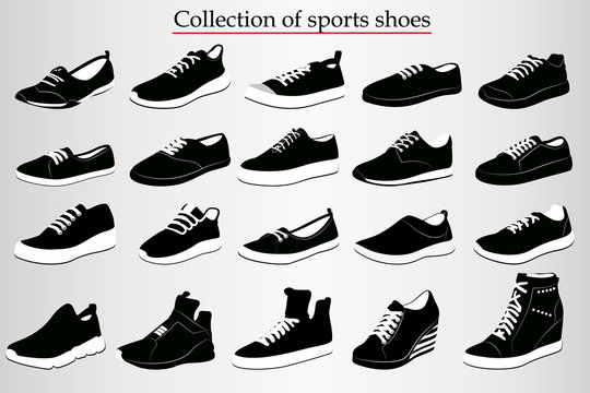 A set of sports shoes on a white background
