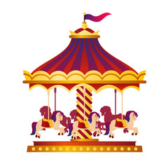 Vector illustration of colorful and bright circus carousel, roundabout with horses, circus concept in cartoon style on white background.
