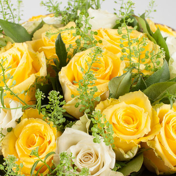 Beautiful bouquet of yellow roses. Wedding. Birthday. Holiday