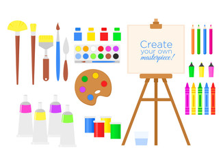 Vector illustration set of tools and materials for creativity and painting, paint, easel and brushes. Drawing equipment collection in flat cartoon style.