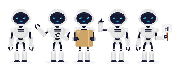 Vector illustration set of cute robots white color in different poses in flat cartoon style.