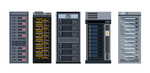 Vector illustration set of various cartoon server racks, different types of server rack collection of elements in flat design.