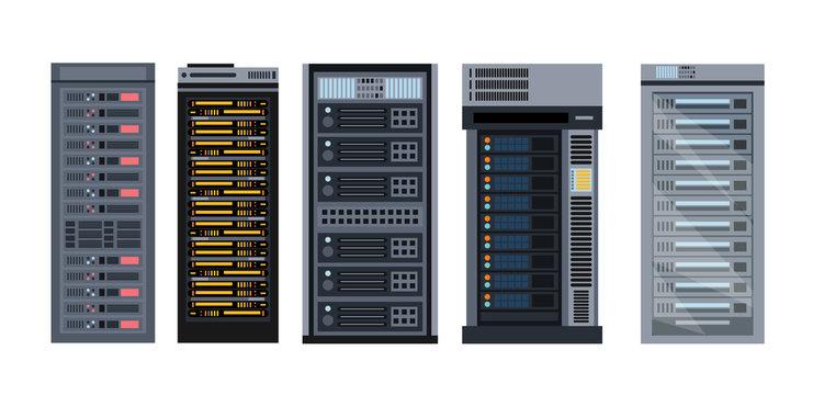Vector illustration set of various cartoon server racks, different types of server rack collection of elements in flat design.