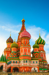 Saint Basil's Cathedral on Red Square at sunset in Moscow, Russia