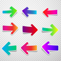 Set of straight  colorful arrows.