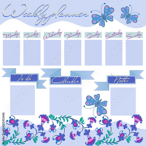 weekly planner with decorative flowers and butterflies the