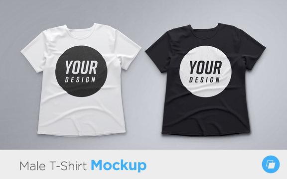 White and Black men's t-shirt realistic mockup