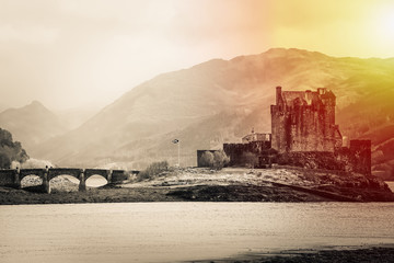 Black And White The Eilean Donan Castle, Highland, Scotland At Sunrise