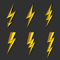Lightning thunderbolt icon vector.Flash symbol illustration.Lighting Flash Icons Set. Flat Style on Dark Background.Silhouette and lightning bolt icon. Set of yellow icons storm