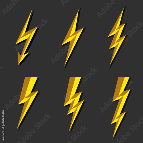 Lightning Thunderbolt Icon VectorFlash Symbol IllustrationLighting Flash Icons Set Flat Style