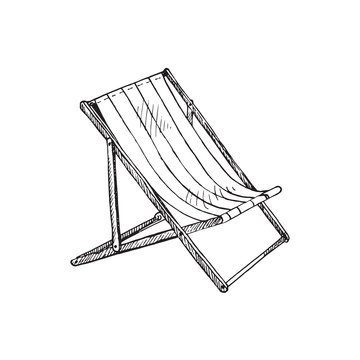Striped deck chair, hand drawn doodle, sketch in pop art style, black and white vector illustration
