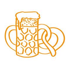 Handgezeichneter Bierkrug mit Brezel in orange