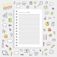 Date on Notes and Icons on Vector Illustration